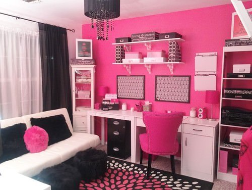 Pink home office with accents of black and white.