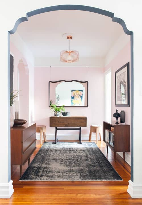 Pink and white foyer.