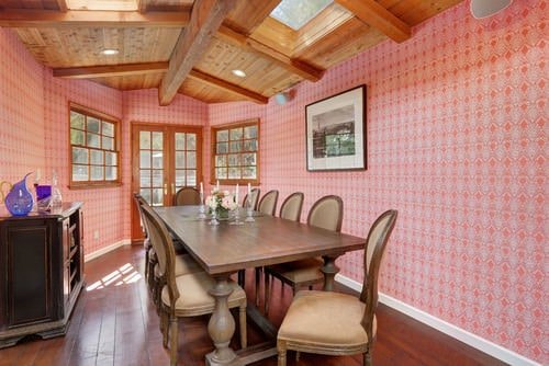 Pink and brown dining room.