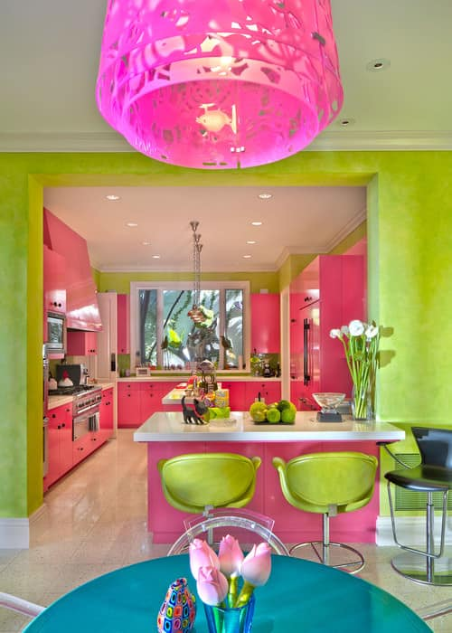 Pink and green kitchen.