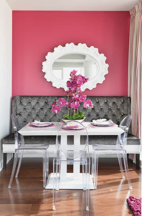 Small pink dining room.