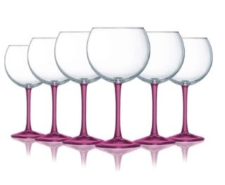 A set of pink-stemmed wine glass.