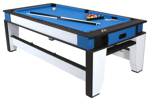 Pool table with a plastic play surface.