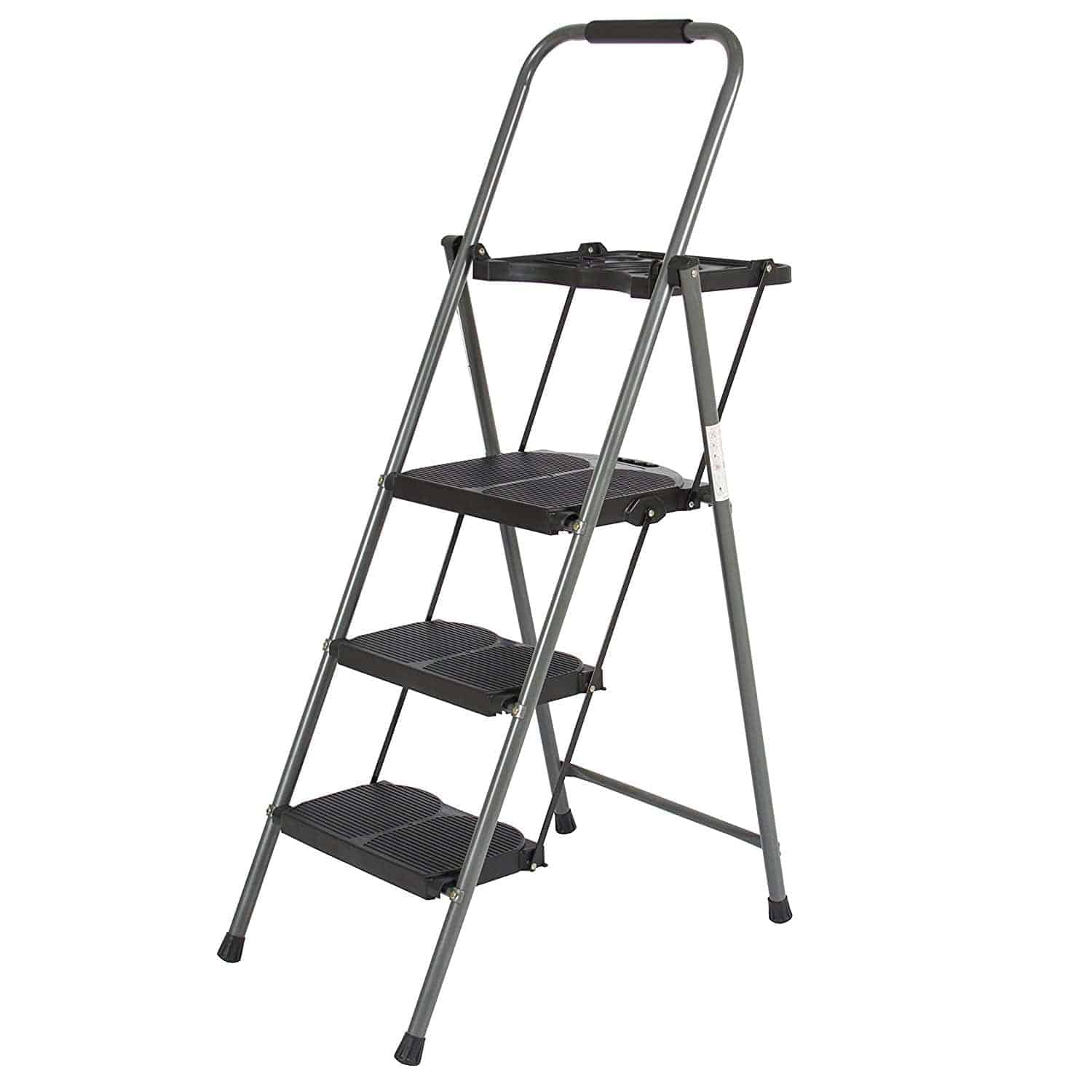 3 step ladder platform folding stool with anti-skid rubber feet and a foldable design.