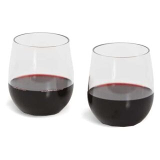 Polycarbonate wine glasses that do not shatter when fallen.