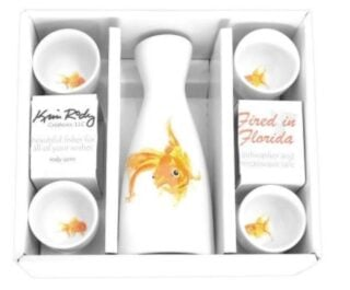 A set of porcelain white glassware with a goldfish deisgn, made especially for Sake.