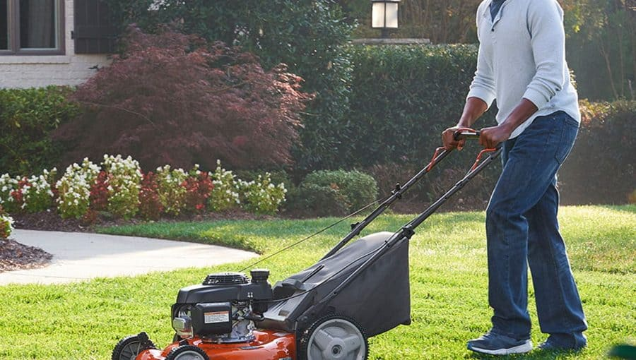 Rear discharge mowers with rear ball-bearing wheels and hardened steel blade.