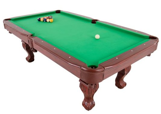 Standard pool table in a rectangular shape.