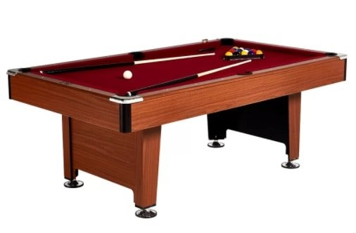 Pool table made out of wood and polyester cloth.