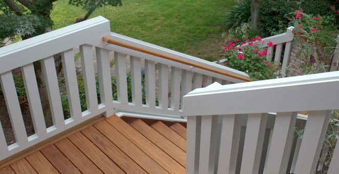 Redwood deck stairs