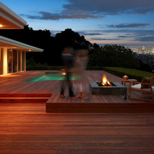 Large redwood deck with firepit