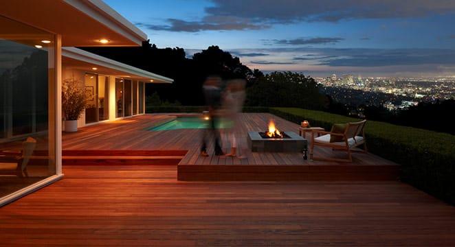 Large redwood deck with firepit