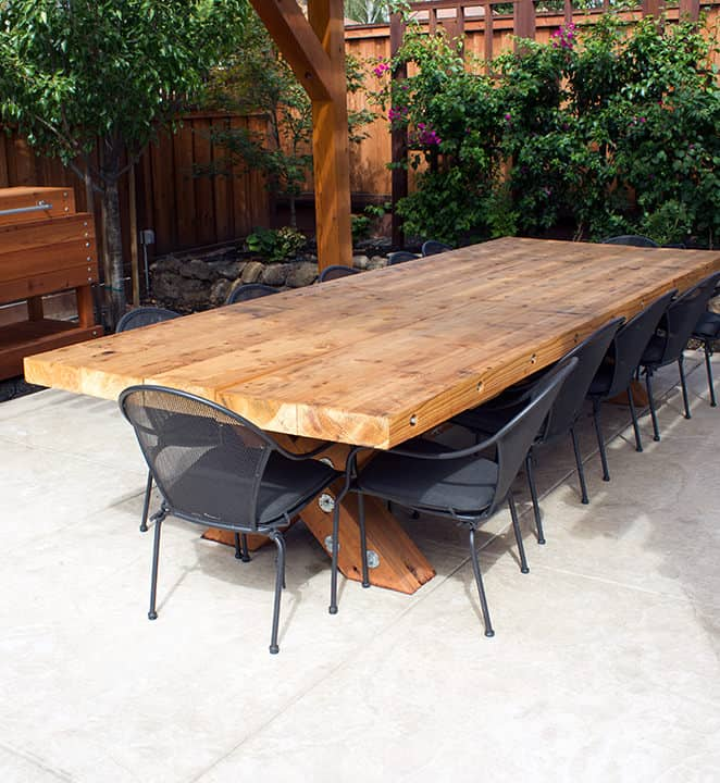 Redwood patio dining table