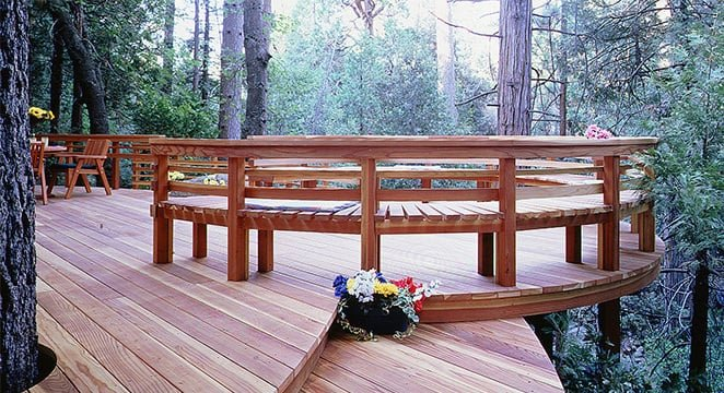 Deck and bench built with redwood lumber