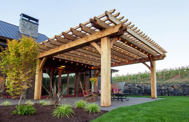 Light redwood pergola