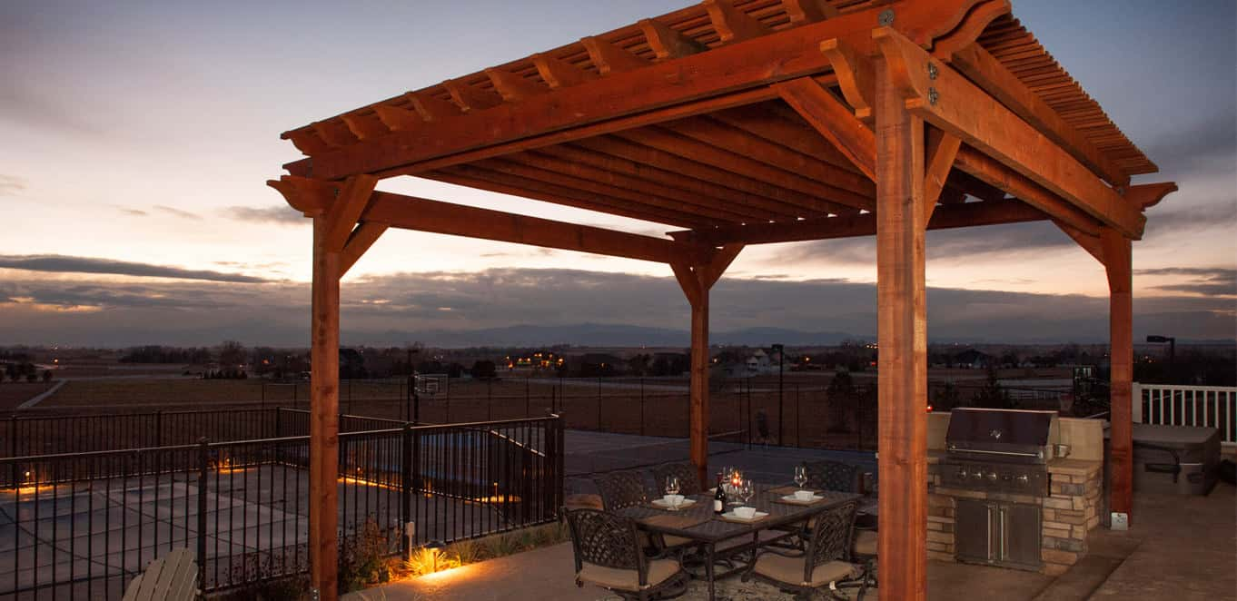 Gorgeous pergola structure built with redwood lumber