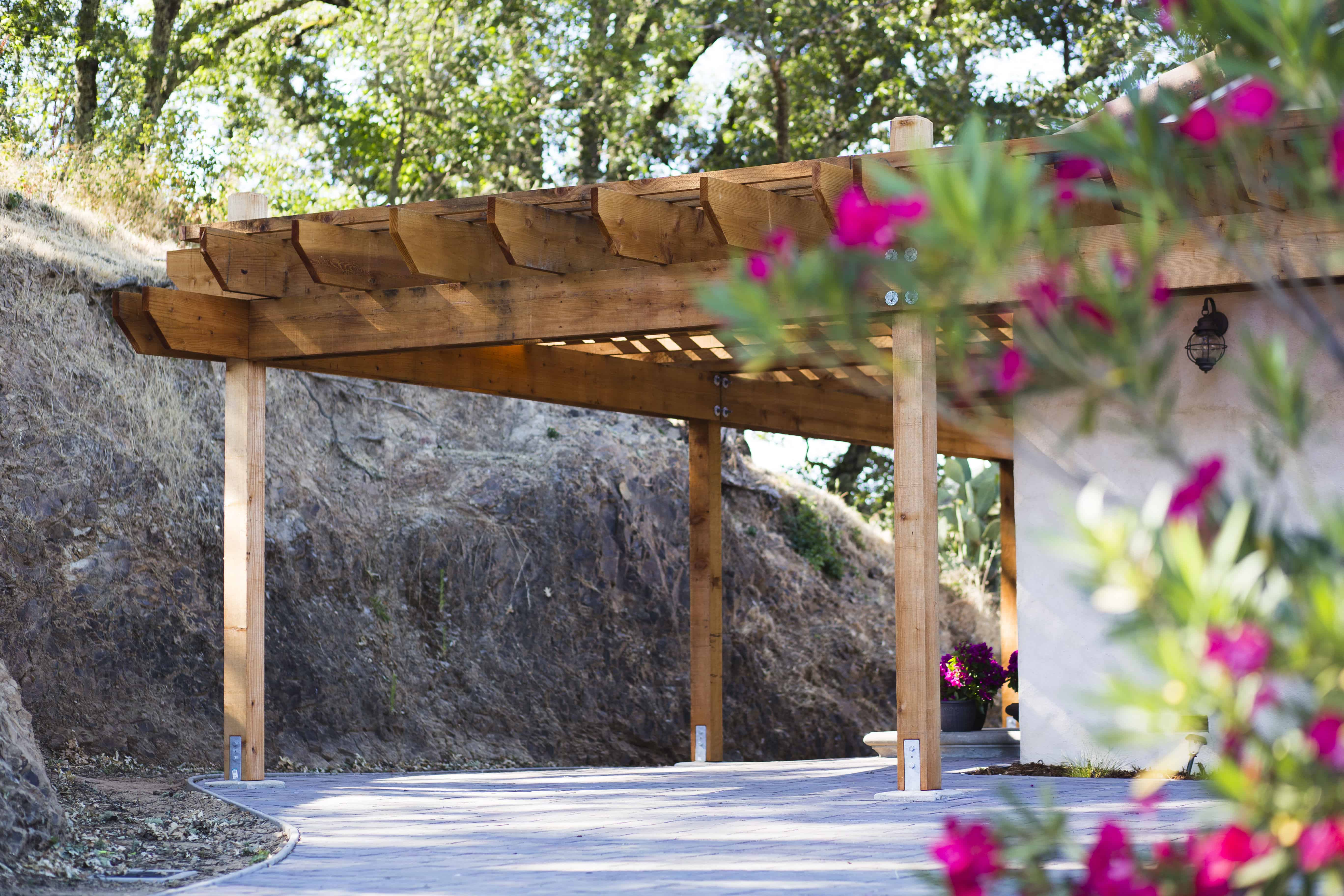 Large redwood pergola