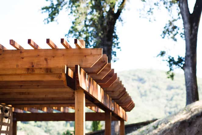 Close up photo of redwood pergola