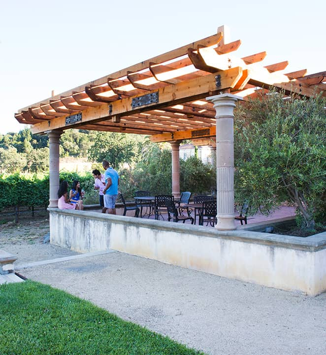 Pergola constructed with redwood lumber