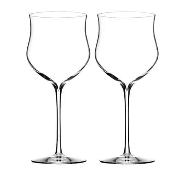 Rose crystal wine glasses with slim stems.