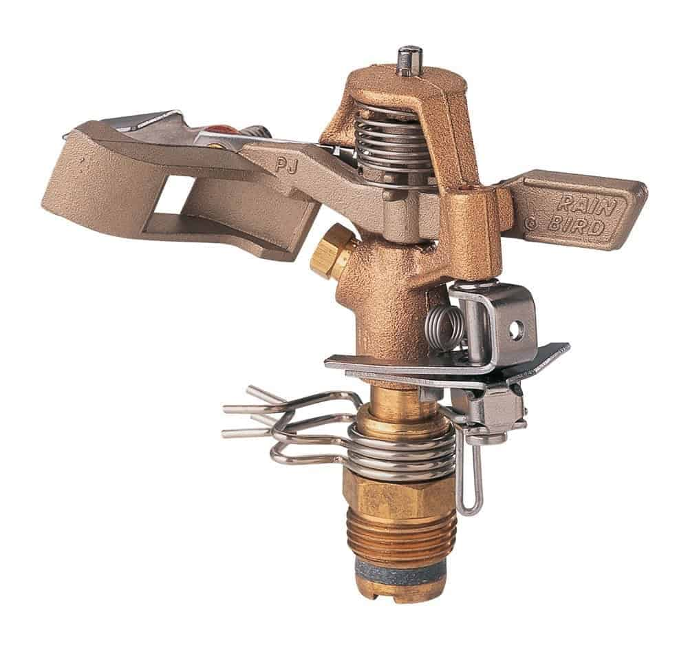 Brass impact sprinkler with classic impact sound and adjustable deflector flap.