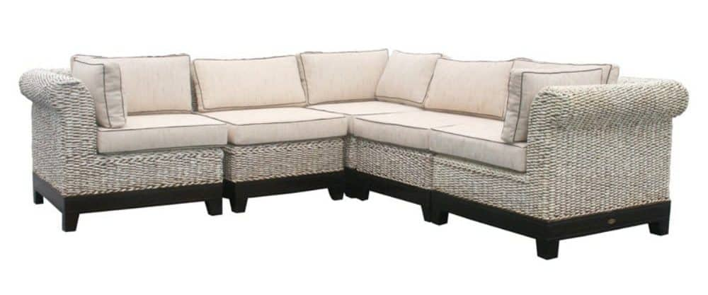 5 piece sectional sofa with sturdy mahogany frame and foam-filled seat and back cushions.