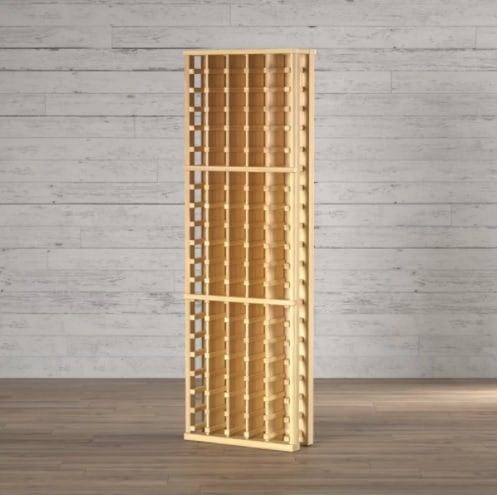A wine rack with plenty of storage space.