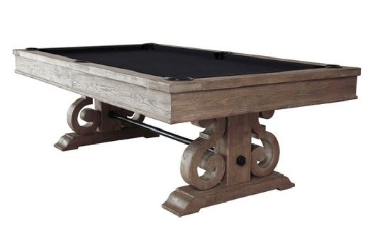 Rustic, wooden pool table with a weathered oak finish.