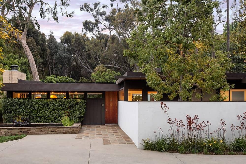 The house boasts a modern look outside.