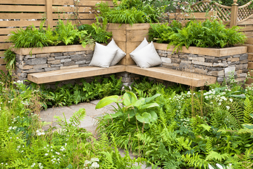 Relaxing landscape design with seating area.