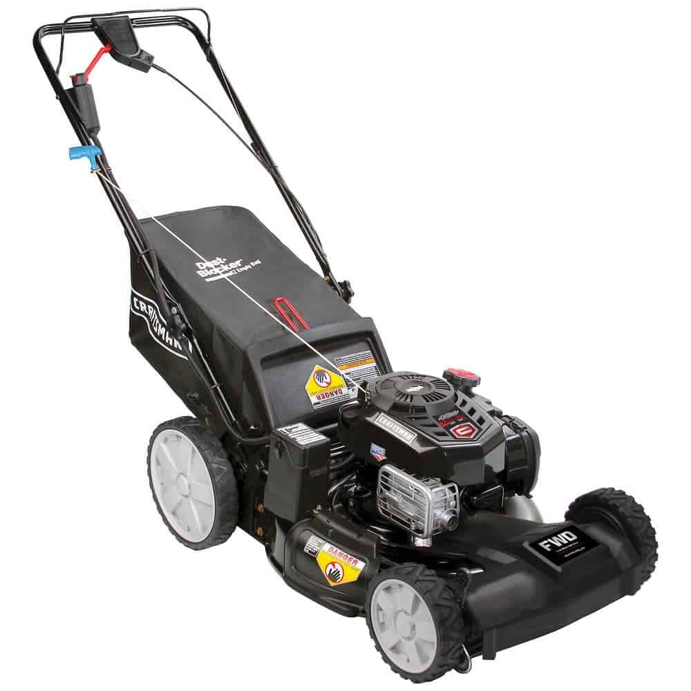Self-propelled lawn mower in black color.