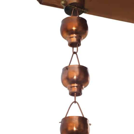 Copper rain chain with 4 rounded hibiki cups.