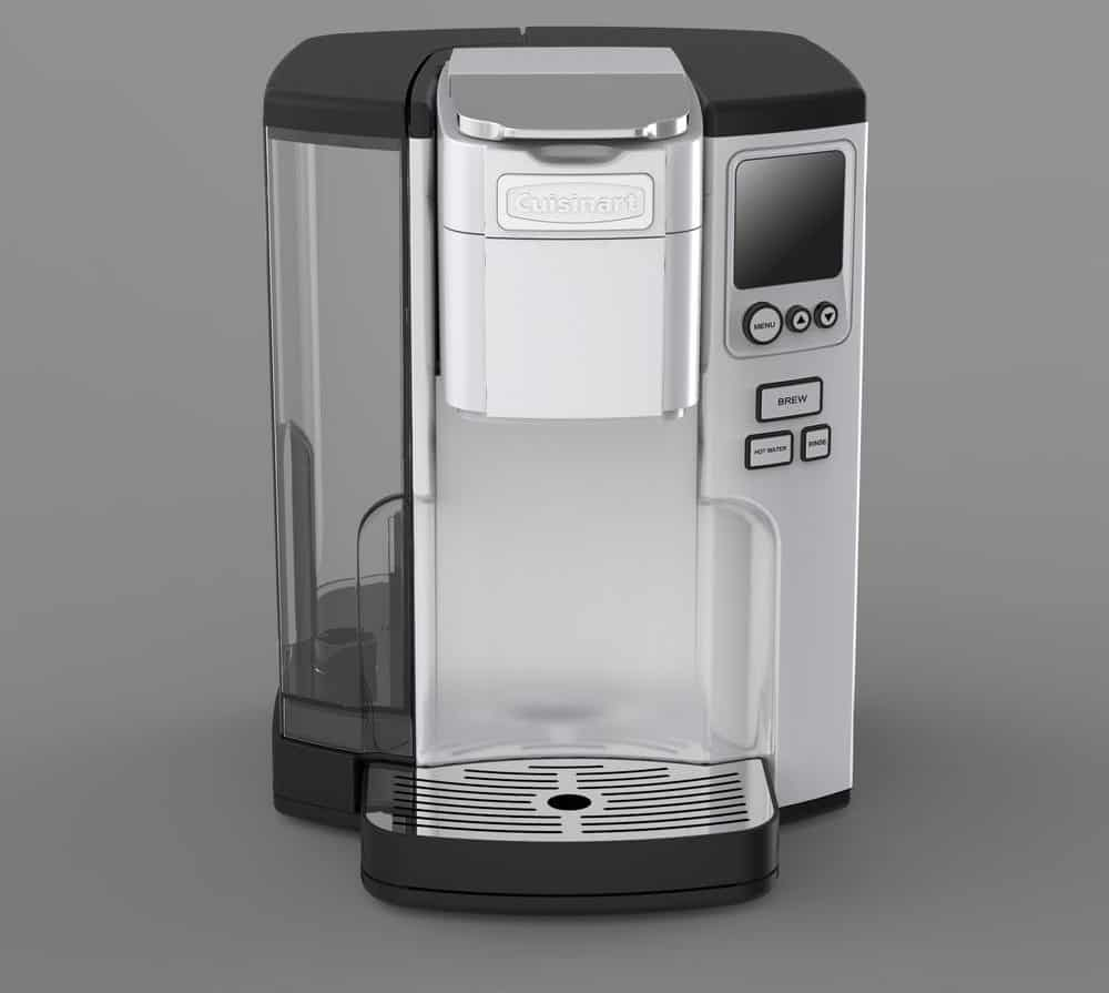 Silver and black Cuisinart coffee brewer with backlit blue LCD.