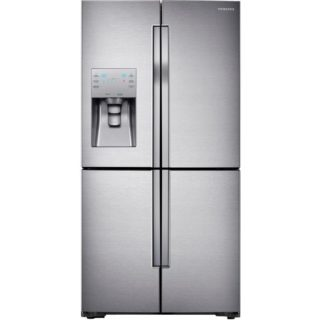 Silver refrigerator with four different cooling zones.