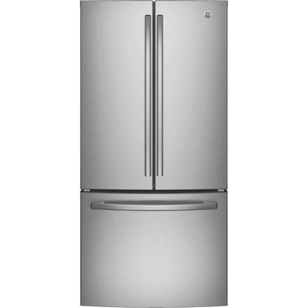 Silver refrigerator with an internal water dispenser.