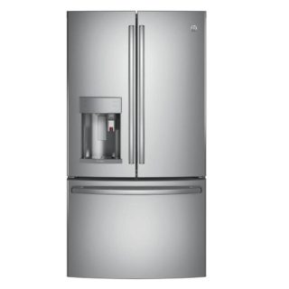 Silver refrigerator with brewing system.