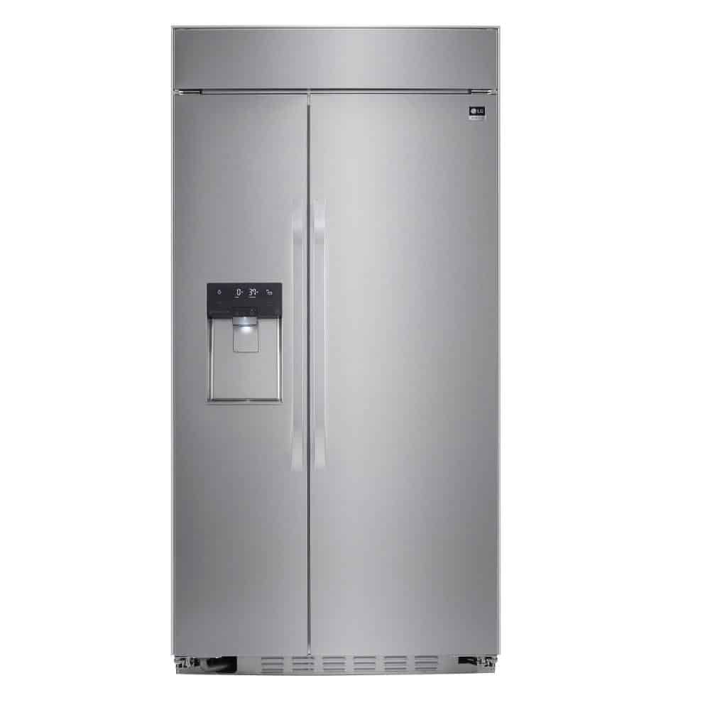 Stainless, dark silver refrigerator with smart features.