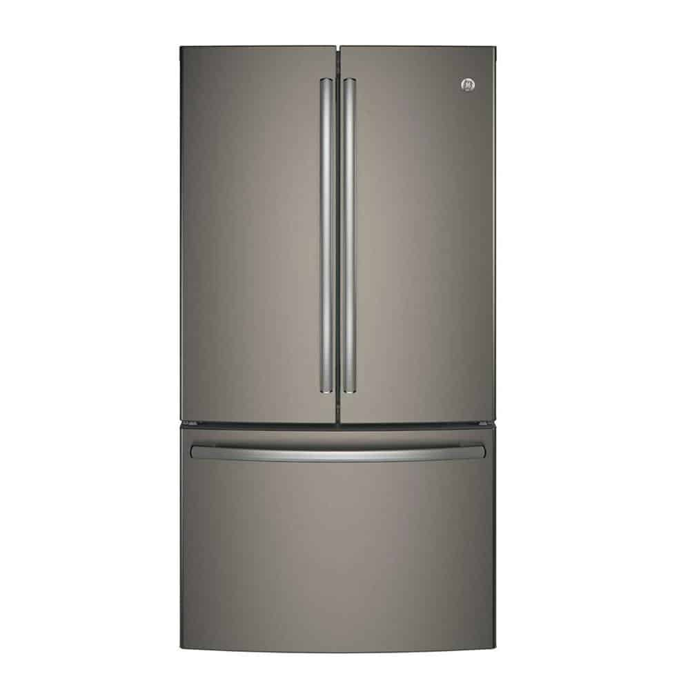 Slate refrigerator with a sleek finish.