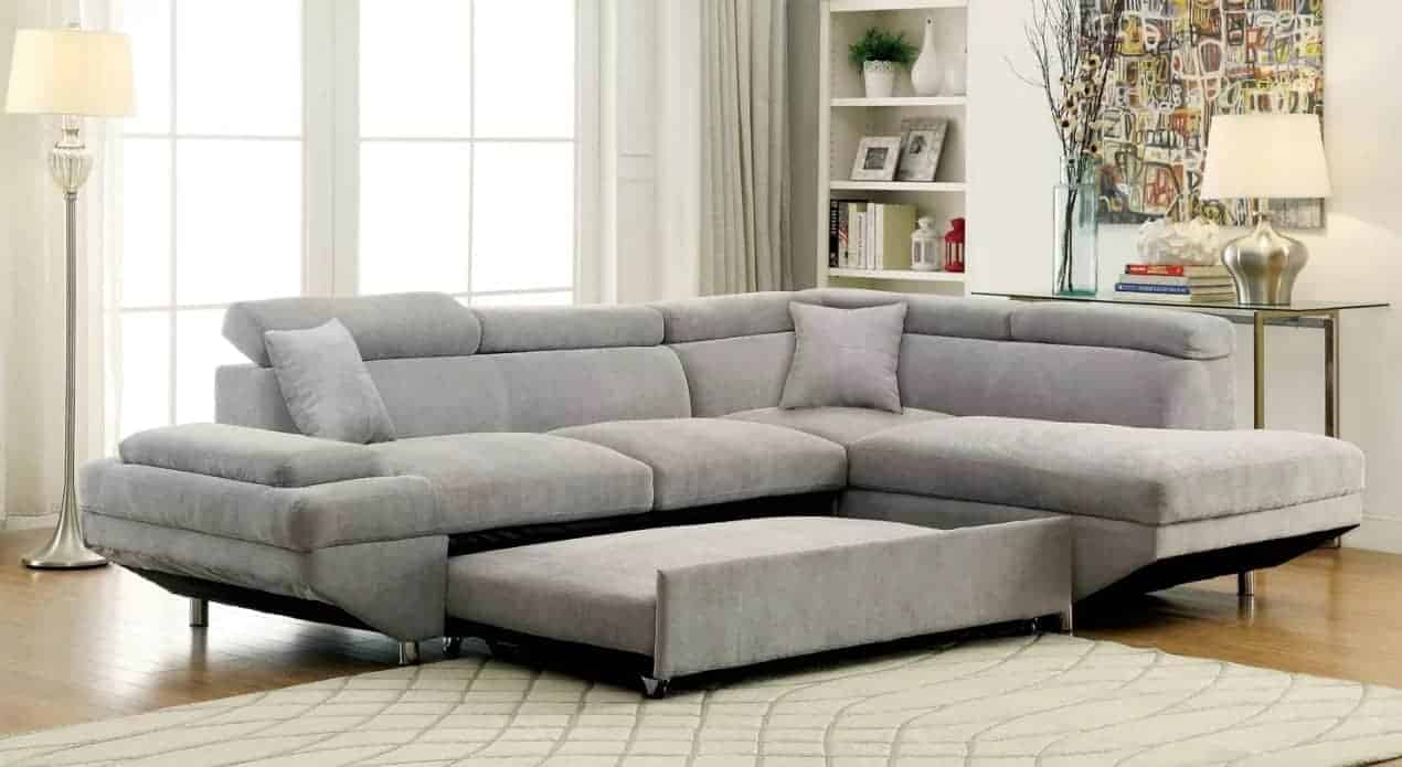 Sleeper sectional sofa with flannelette upholstery and foam fill material.