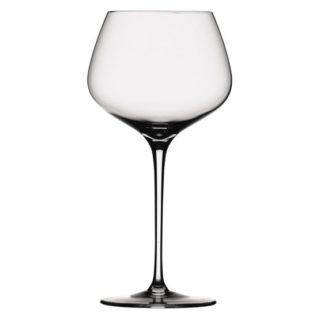 Burgundy red wine glass with a shallow but wider bowl and a slim stem.