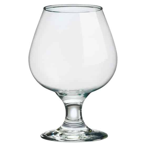Snifter type made of durable soda lime glass.
