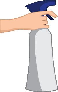 Spray bottle for cleaning porcelain tile floors.