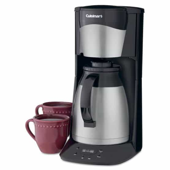 Thermal coffeemaker with sleek black metal design and with 24-hour programmability.