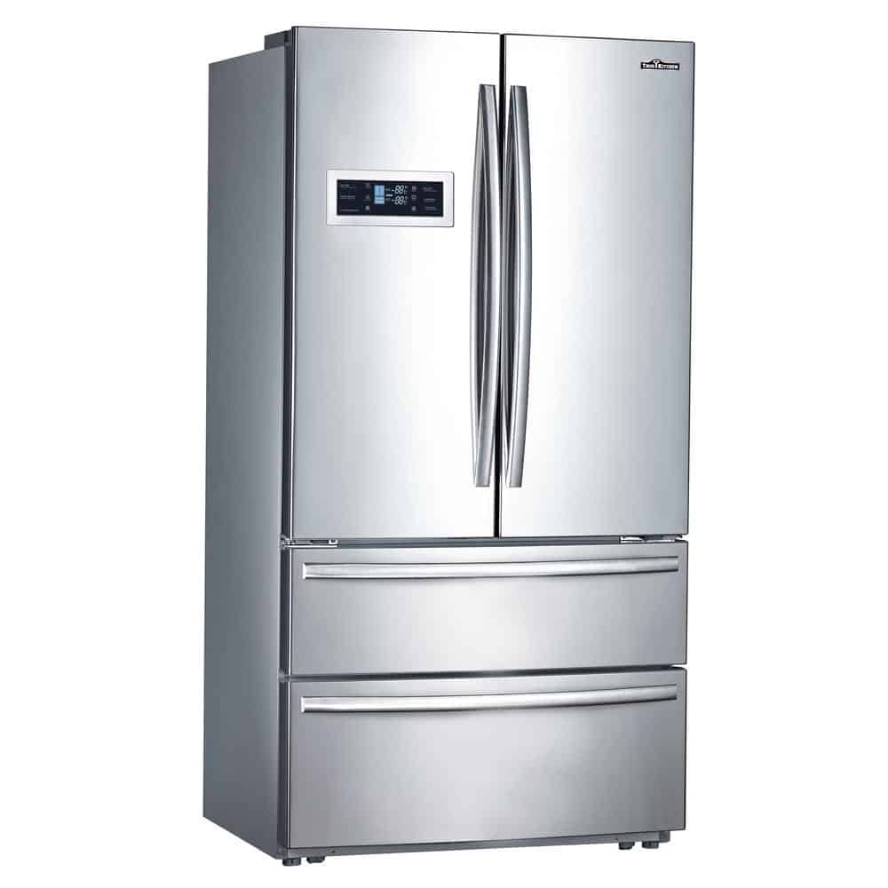 Stainless steel refrigerator with french door.