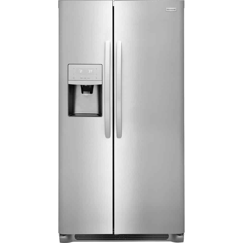 Stainless refrigerator with a reversible hinge door.