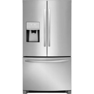 Refrigerator in a stainless steel finish.