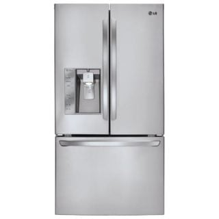 Stainless steel refrigerator with spill detector.