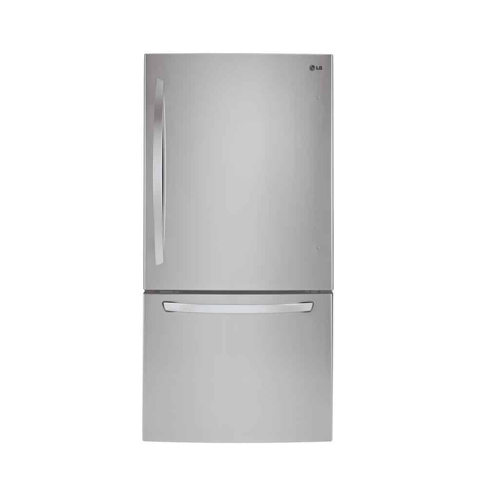 Stainless steel refrigerator with a freezer at the bottom.