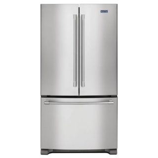 Counter-depth refrigerator with a fingerprint-resistant feature.
