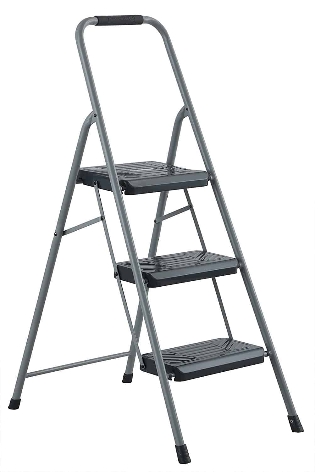 Two step steel stool with slip-resistant rubber feet and lightweight feature.